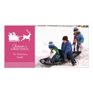 Lovely Santa Christmas Photo Card (Dark Pink)