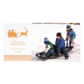 Lovely Santa Christmas Photo Card (Gold)