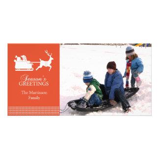 Lovely Santa Christmas Photo Card (Orange)