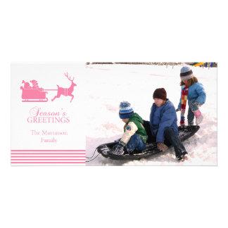 Lovely Santa Christmas Photo Card (Pink)