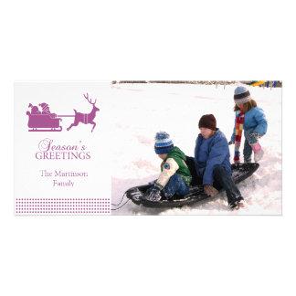 Lovely Santa Christmas Photo Card (Raspberry)