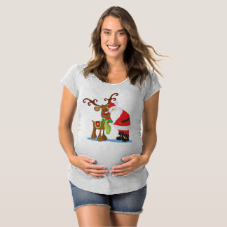 Lovely Santa Claus and Reindeer Maternity Shir Maternity T-Shirt