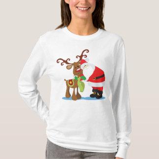 Lovely Santa Claus and Reindeer   Sleeve Shirt