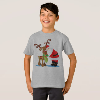 Lovely Santa Claus and Reindeer Tagless Shirt