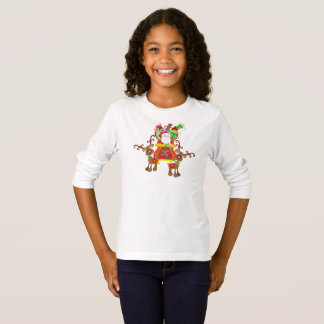Lovely Santa Claus and Reindeers   Sleeve Shirt
