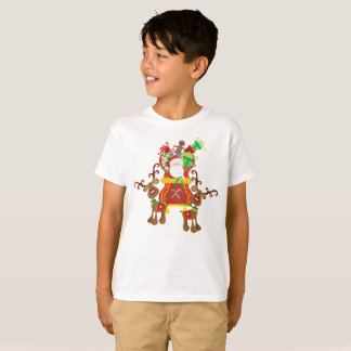 Lovely Santa Claus and Reindeers Tagless Shirt