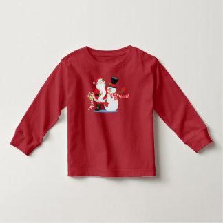 Lovely Santa Claus and Snowman   Sleeve Shirt