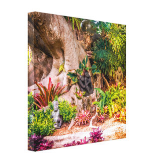 Lovely Scenic Garden with Banyan Tree Stretched Canvas Print