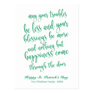 Lovely Script Old Irish Blessing St. Patrick's Day Postcard
