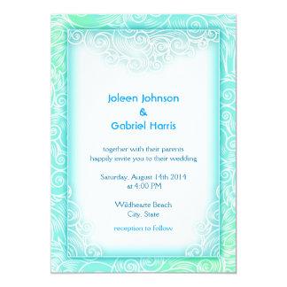 Lovely Seafoam Aqua Mint and White Beach Wedding 13 Cm X 18 Cm Invitation Card