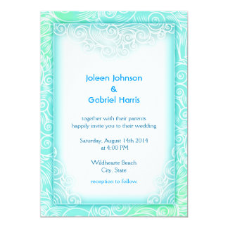 Lovely Seafoam Aqua Mint and White Beach Wedding Card
