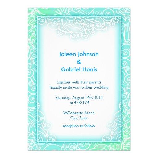 Lovely Seafoam Aqua Mint and White Beach Wedding Invitations