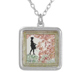 Lovely Silhouette Girl Silver Plated Necklace