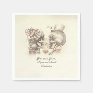 Lovely Skull Couple Wedding Disposable Napkin