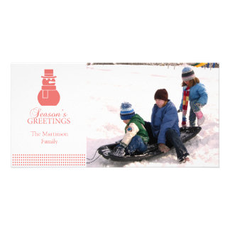 Lovely Snowman Christmas Photo Card Coral