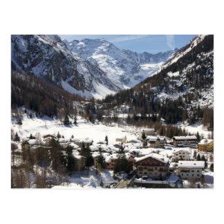 Lovely Snowy Lillaz in the Italian Alps Postcard
