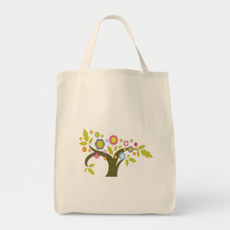 lovely summer tree vector grocery tote bag