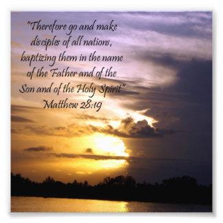Lovely Sunset Scripture Verse Matthew 28:19 Print Photo