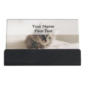 Lovely Sweet Cat Kitten Kitty Desk Business Card Holder