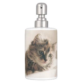 Lovely Sweet Cat Kitten Kitty Soap Dispenser And Toothbrush Holder