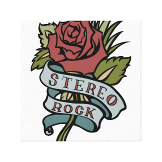 """lovely tattoo flowers""""stereo rock"""" red and green canvas print"""