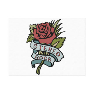 """Lovely Tattoo Flowers""""Stereo Rock"""" Red and Green Canvas Prints"""