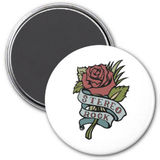 """Lovely Tattoo Flowers""""Stereo Rock"""" Red and Green 3 Inch Round Magnet"""