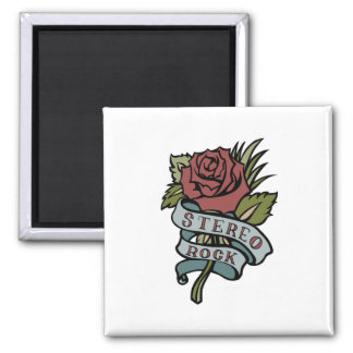 "Lovely Tattoo Flowers""Stereo Rock"" Red and Green Square Magnet"
