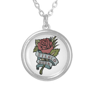 """lovely tattoo flowers""""stereo rock"""" red and green round pendant necklace"""
