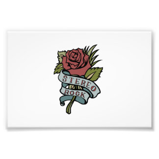 """Lovely Tattoo Flowers""""Stereo Rock"""" Red and Green Photo Print"""