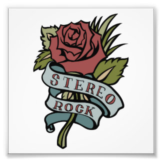 """lovely tattoo flowers""""stereo rock"""" red and green photographic print"""