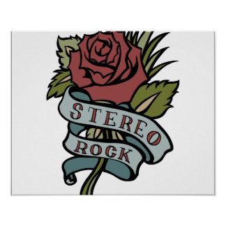 """lovely tattoo flowers""""stereo rock"""" red and green poster"""