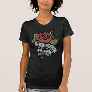 """Lovely Tattoo Flowers""""Stereo Rock"""" Red and Green T-Shirt"""