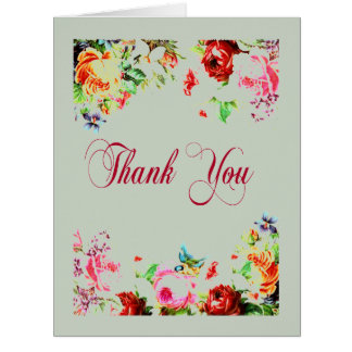 Lovely Thank You Shabby Floral Decorative Card