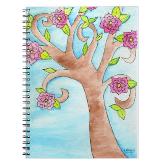 Lovely Tree with Pink Flowers Spiral Notebook