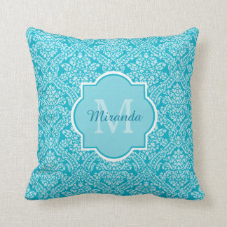 Lovely Turquoise Damask Pattern Monogram With Name Throw Pillow
