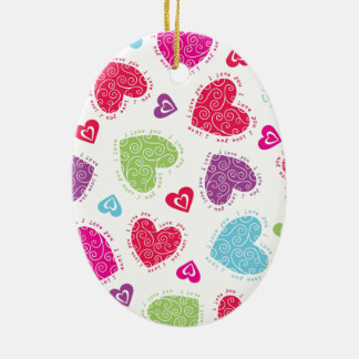 """Lovely Valentine's Day hearts and """"I love you""""text Ceramic Oval Decoration"""