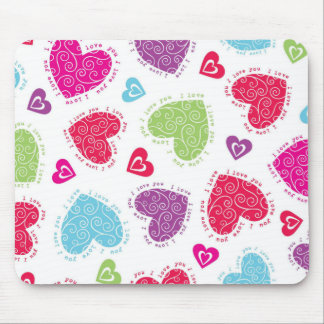 """Lovely Valentine's Day hearts and """"I love you""""text Mouse Pad"""