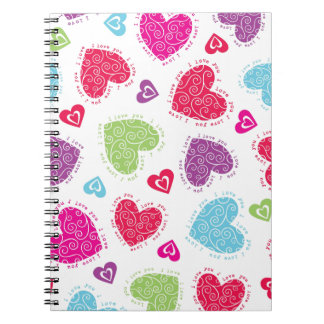 """Lovely Valentine's Day hearts and the """"I love you"""" Notebooks"""