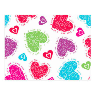 """Lovely Valentine's Day hearts and the """"I love you"""" Postcard"""