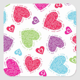 """Lovely Valentine's Day hearts and the """"I love you"""" Square Sticker"""