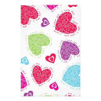 "Lovely Valentine's Day hearts and the ""I love you"" Stationery"