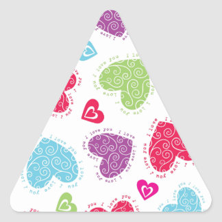 """Lovely Valentine's Day hearts and the """"I love you"""" Triangle Sticker"""