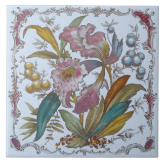 Lovely Victorian Transferware Floral Tile c1880