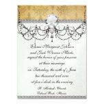 lovely vintage distressed gold damask 14 cm x 19 cm invitation card