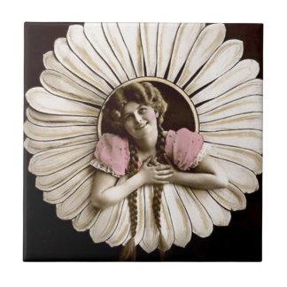 Lovely Vintage Flower Women Small Square Tile