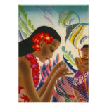 LOVELY VINTAGE HAWAII ~ COLORFUL TROPICAL POSTER