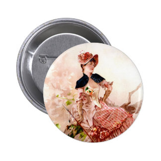 Lovely Vintage Lady In Pink Dress 6 Cm Round Badge