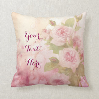 Lovely Vintage Soft Pink Roses Floral Watercolor Throw Pillow