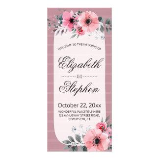 Lovely Vintage Watercolor Floral Wedding Program Rack Card